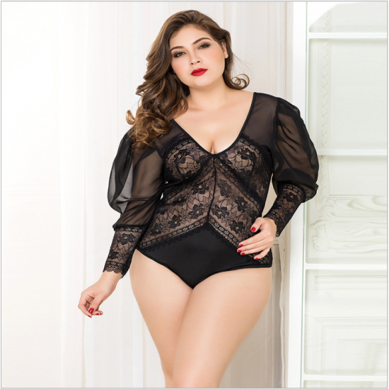 Plus Size Lacy Bodysuit