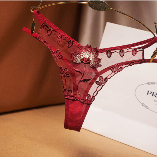 Low Waistband Thong Panty Red Wine