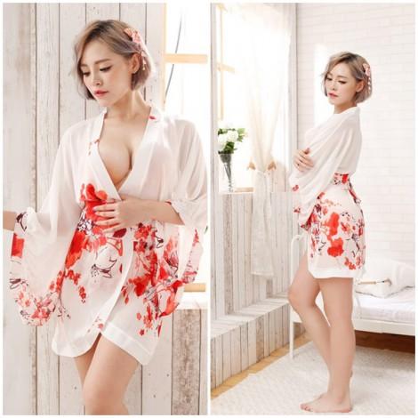 白色雪紡印花日式和服睡衣