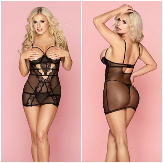Cupless Striped Lace Chemise