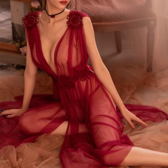 深V爆款高端蕾絲網紗長裙