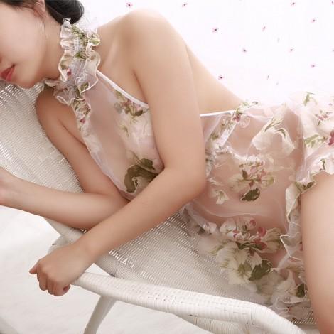 透明花朵歐根紗情趣睡衣