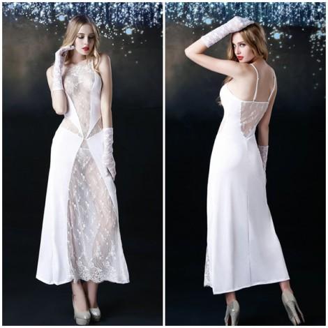 白色繡花透視深V性感長裙