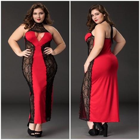 時尚蕾絲透視胖MM性感長裙