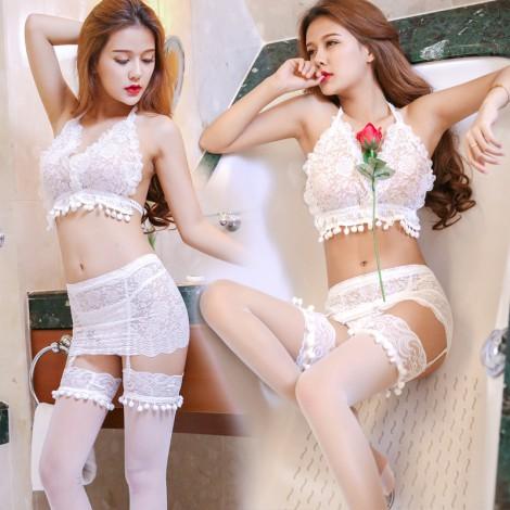唯美夢幻蕾絲仙子白色套裝