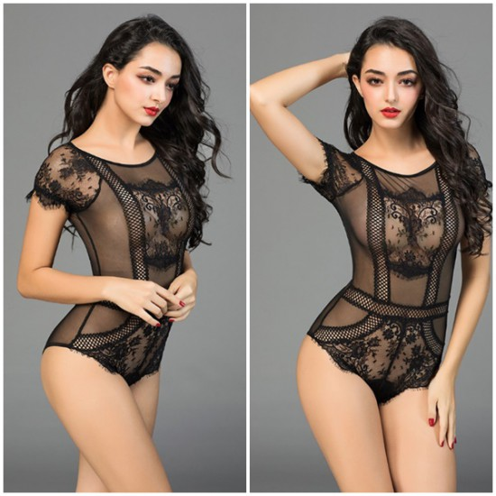 Net and Lace Black Teddy
