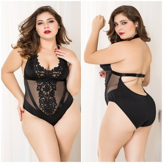 Sexy Black Lace Bodysuit Plus Size