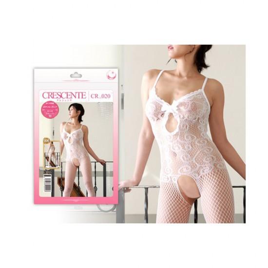 Crescente White Pure Open Crotch Bodystocking
