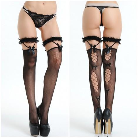 性感花邊長筒網襪
