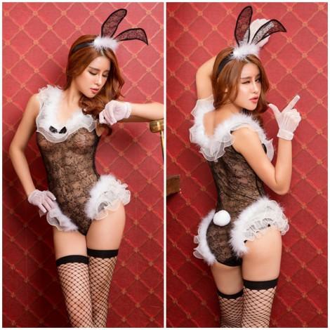 夜店酒吧表演服連體兔子裝