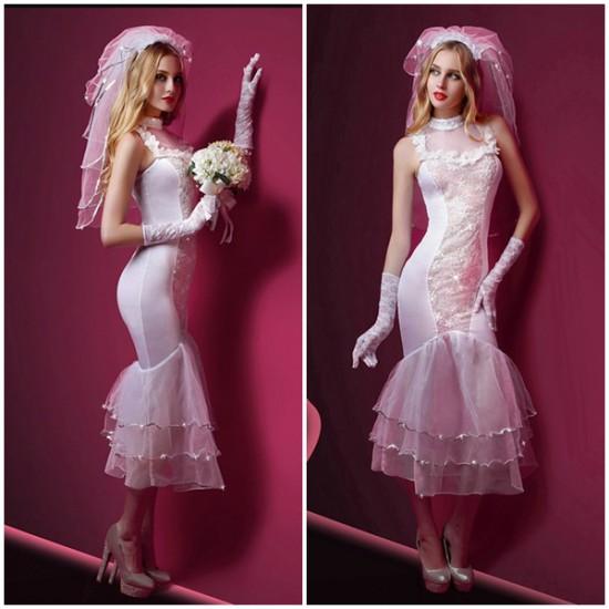 時尚網紗裙擺婚紗長裙