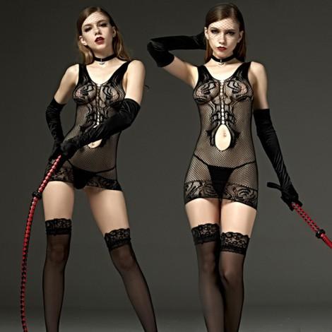 性感吊帶網格包臀短裙