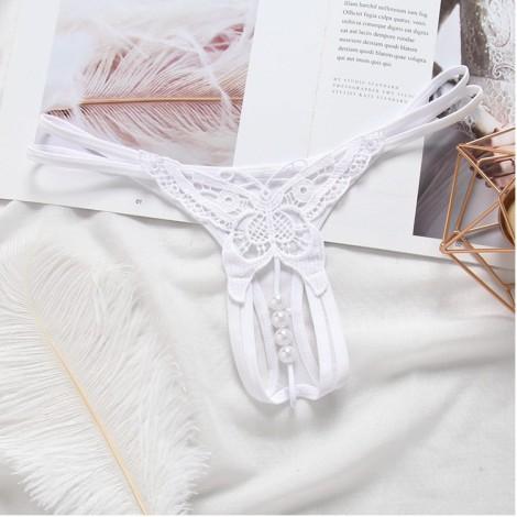 蝴蝶刺繡開檔珠珠丁字褲